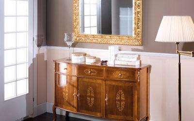 Composizione Credenza 3 porte 3 cassetti con Specchiera in foglia oro
