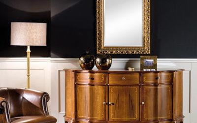 Composizione Credenza 3 porte 3 cassetti e Specchiera in foglia oro