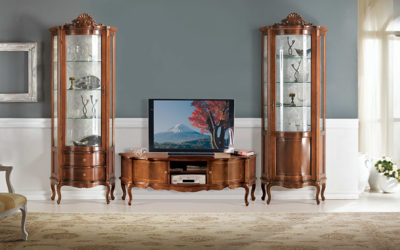 Composizione Porta Tv con Vetrine a cassetti e porte