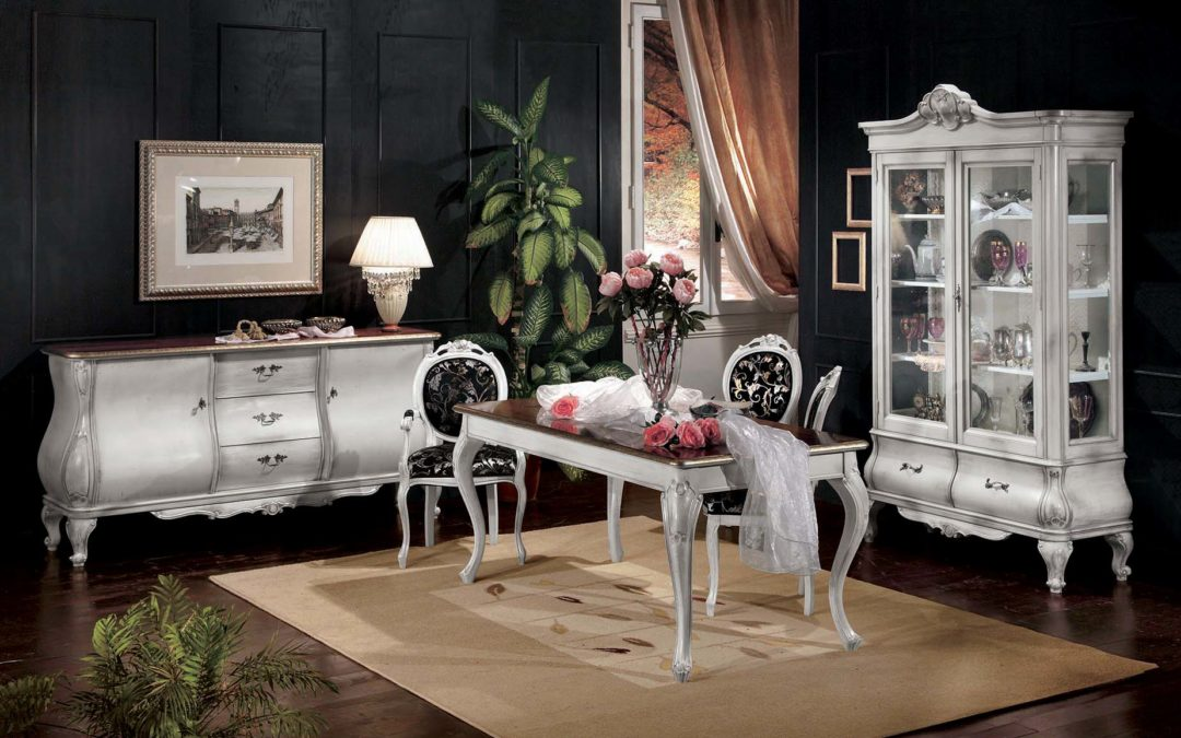 Composizione Sala da pranzo con tavolo allungabile, credenza,vetrina,sedie e capotavola