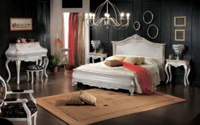 Composizione letto sagomato, secretaire, tavolino, pouf e specchiera