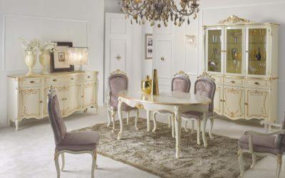 Composizione Sala da Pranzo con Credenza, Tavolo, Capotavola, Cristalliera e Sedie
