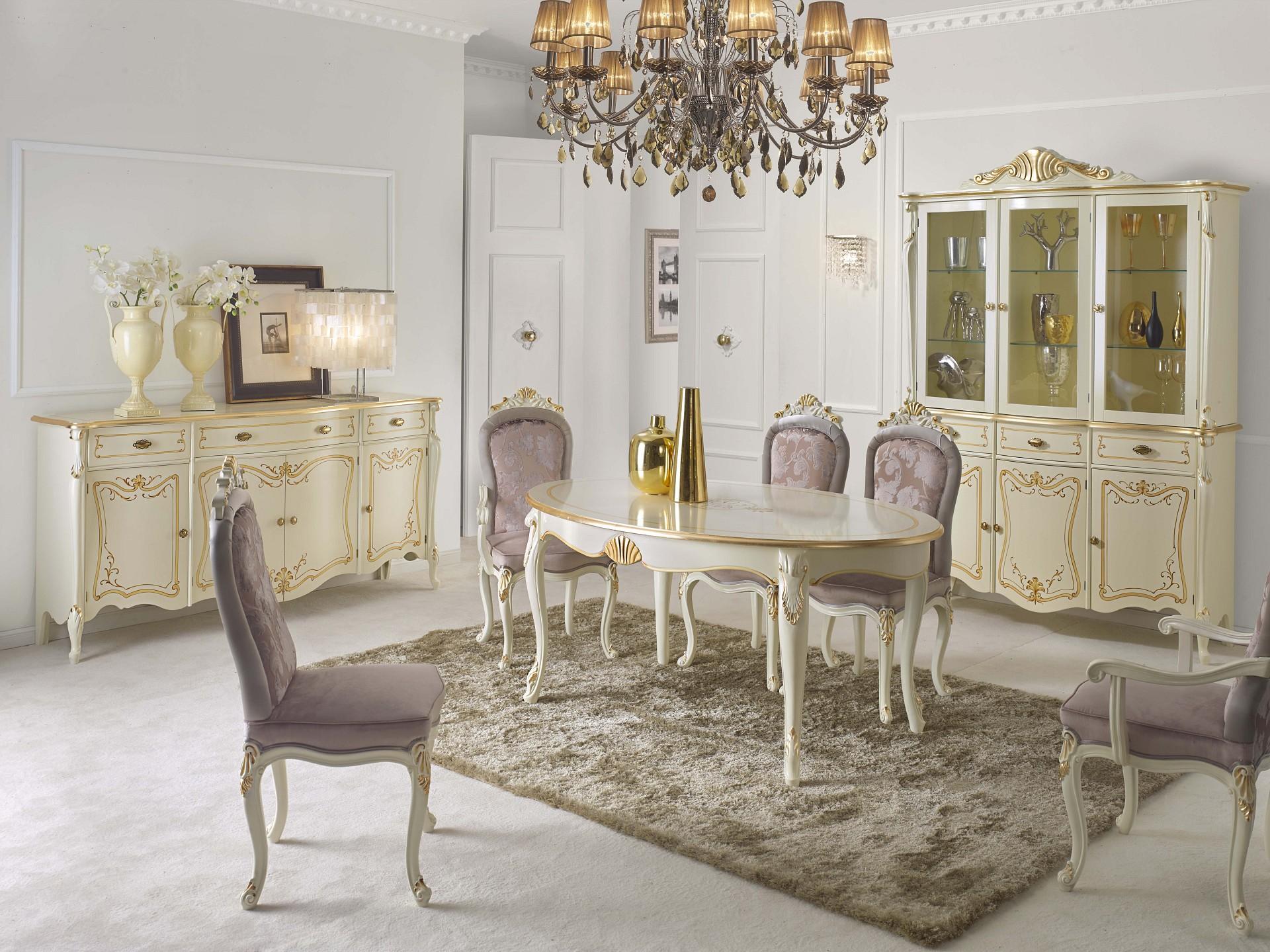 Credenza Con Cristalliera : Composizione sala da pranzo con credenza tavolo capotavola