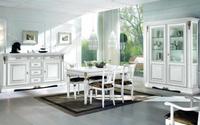Composizione Sala da Pranzo con tavolo, credenza a 2 porte e 6 cassetti, capotavola, sedie