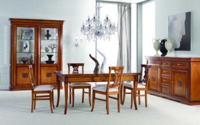 Composizione Sala da Pranzo con tavolo, credenza a 2 porte e 6 cassetti, vetrina a 2 ante, sedie
