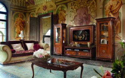 Composizione con mobile porta tv, vetrina e tavolino