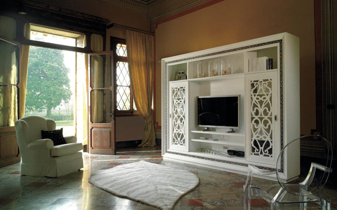 Art. GR103/LQ3 Parete soggiorno / TV con antine traforate scorrevoli