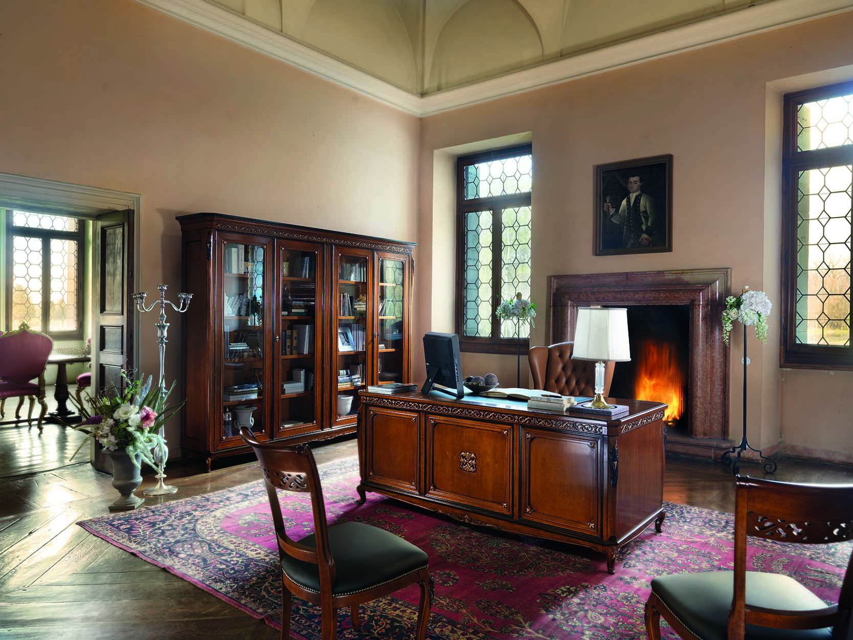 Credenza Con Scrittoio : Composizione con libreria scrivania e sedia tappezzata tarocco