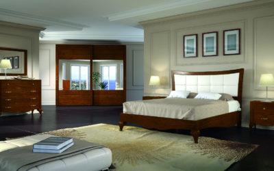 Composizione camera da letto completa di armadio, comò, comodino e specchiera